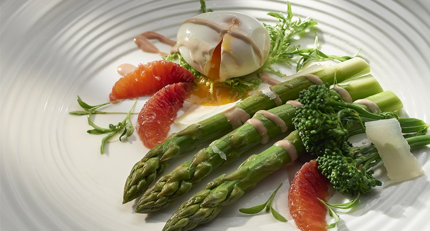 Asparagus, Tenderstem Broccoli, Slow Poached Egg with a Caesar and Blood Orange Dressing