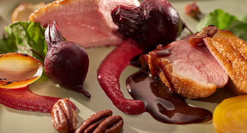 Duck Breast with Beetroot Tartare Puree, Onion and Pecans