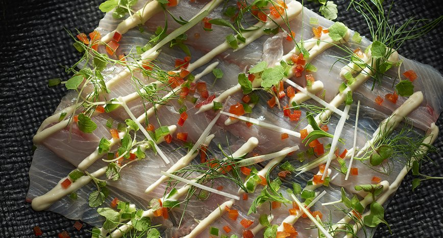 Yellowtail Kingfish Ceviche with a Caesar and White Miso Dressing