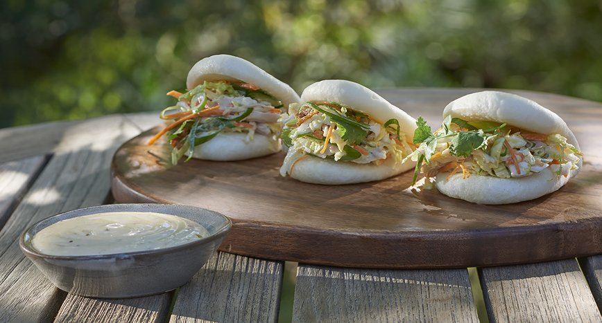 Open Sliders of White Poached Chicken, Wombok Slaw with a Caesar Wafu Dressing