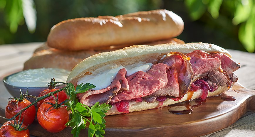 Baguette with Rotisserie Beef and Horseradish Mayonnaise