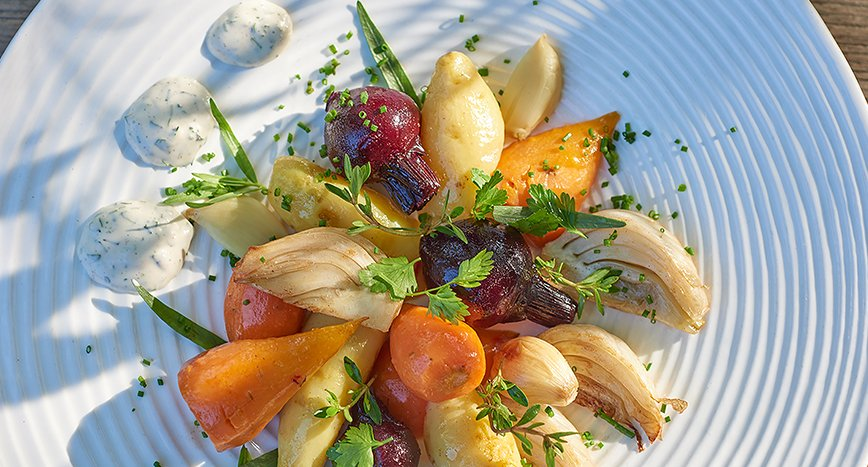 Confit of Vegetables with a Herb Mayonnaise
